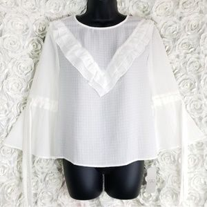 MB CAD Nordstrom Ruffled Trumpet Sleeve Blouse